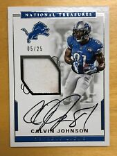 2017 Panini National Treasures CALVIN JOHNSON Autograph Jersey Swatch 05/25
