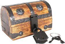 Mini Pirate Treasure Chest Box W/ Iron Lock 2 Keys Wood Decorative Pirates Stora