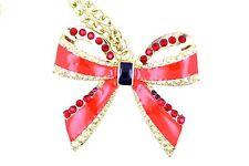 Festivo, oro y rojo, grande 50mm lazo collar Navidad o regalo de cumpleaños