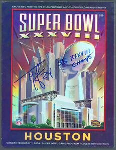 """Patriots Ty Law """"SB XXXVIII Champs"""" Signed SB XXXVIII Program BAS Wit #WK36960"""
