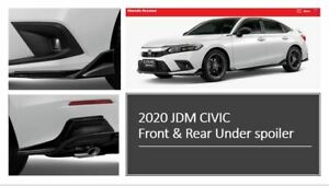 2022 JDM Civic 11 Sedan Front Rear Under Skirt Body Spoiler Genuine Honda Blac