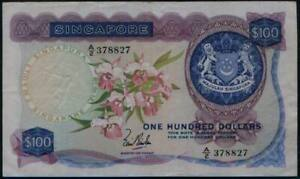 Singapore $100 Orchids Series. Board of Comm. of Currency. 1st Issue. #p6a. 1967