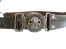 More details for early vintage boy scouts leather uniform belt with metal side rings and clasp