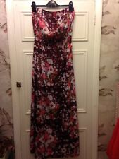 Next Silky Floral Print Strapless Dress Size 12 Boho Hippy