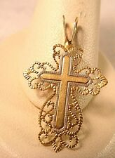 14K Gold Cross Filigree Vintage Religious Pendant 21mmx16.5mm 2 available Charm