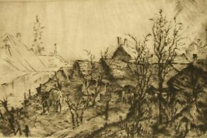Remsey Jeno Gábor antique pencil signed limited edition etching 1950's