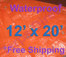 12' x 20' High Visibility Orange Tarp Waterproof Camping Cover Wood Construction