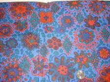 """Vintage Cotton Fabric ORANGE,TEAL,BLUE FLORAL ON BLUE  1 Yd/38"""" Wide"""
