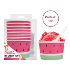 More details for ice cream tubs with spoons pack of 32 watermelon design summer garden party bbq