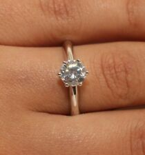 0.80 Ct Round Cut Diamond Engagement Ring Solid 14k White Gold Rubyshire