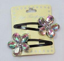 Jumbo Sparkle Gem Flower Fashion Hair clip set 2Pcs Aurora Borealis