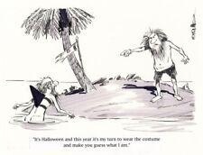 Original Gag Panel Strip Art Castaway Shark Halloween Costume B&W Bruce Bolinger