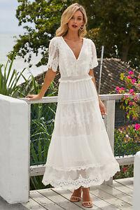 Elegant Luminous Lace Short Sleeve Maxi Boho/Beach Wedding Dress, NEW, Size 14