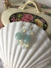 Long Drop Ladies Beryl With Opal 925 Silver Earrings Pretty