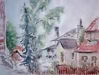 Hilde HUDEMANN (*1914) Hamburg-Aquarell 1971: - BLANKENESE - / Häuser, Vorgärten