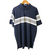 Ralph Lauren Polo Men's White Striped Shirt Size XL Navy Short Sleeve