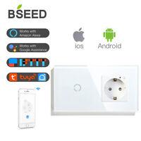 BSEED WLAN Touch Lichtschalter Smart Schutter Glas WIFI Wand Steckdosen Alexa