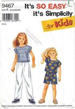 Simplicity Pattern 9467 Girls' Pull On Pants Shorts Top Sizes 2 - 6X Uncut