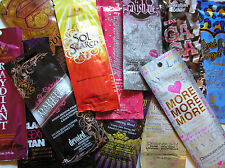 100 Assorted BRONZER Indoor Tanning Lotion Packet Lot BIG Name Manufacturers