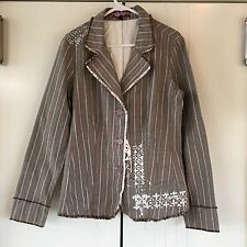 Womens Billabong Brown & Cream Pinstripe Screen Print Raw Edge Jacket Size 12