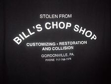 Gordonville PA black graphic Bills Chop Shop stolen from L t shirt