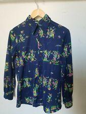 Roberto Firenze vtg 70s 10 M Disco shirt Mayan Aztec Psych Print Long Sleeve Top