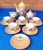 Vintage 1960's 1970's Gold TEA POT SET Creamer / Sugar Bowl / 5 Cups 6 Saucers