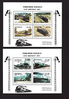 Australia 1993 Thirlmere Railway 3801 50th Ann set 2 local stamp mini sheets MNH