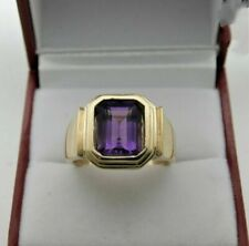Natural Amethyst Gemstone 14K Solid Yellow Gold Men's Ring Jewelry #047G