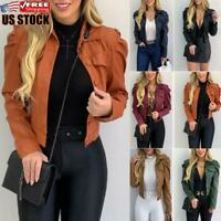 Women PU Leather Puff Sleeve Coat Ladies Casual Cropped Jacket Blazer Bomber Top