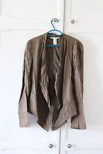 Diane Von Furstenberg Waterfall Blazer Linen Khaki Brown 12 14 Large L Open !