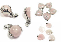 Rose Quartz Pendants Natural Stone Jewellery Chakra Healing Reiki Heart Necklace