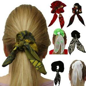 FLORAL SCRUNCHIE HAIR HEAD ELASTIC PONY TAIL BAND BOBBLE SCARF BOW LADIES GIRLS