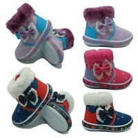 Kids Bowknot Princess Shoes Child Winter Boots Girls Boys Warm Snow Ankle Boots