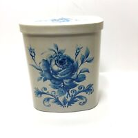 Vintage Ivory Blue Floral Metal Cookie Candy Decorative Tin West Germany