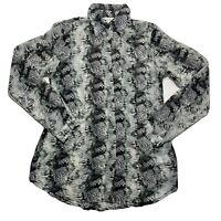 Cabi Women's Snakeskin Semi Sheer Blouse #988 Black White Top Button Up Sz S