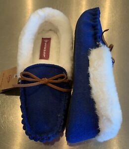SIZE 7 ❤️£10.00❤️ Dunlop Ladies Royal Blue Moccasin Slippers