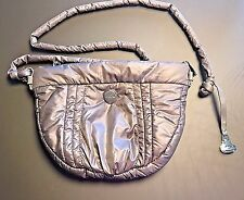 Kipling Gray Shiny Nylon Shoulder Crossbody Purse Handbag Needs Repair
