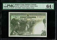 Pick26  Belgian Congo 1953 20 Francs UNC PMG 64 EPQ RARE