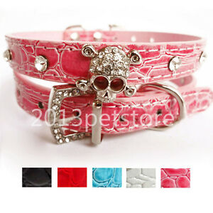 New Pet necklace Cat Rhinestone kitten Collars Dog Skull Crystal leather collar