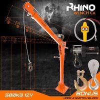 Electric Hoist Crane - 12v 3000lb Vehicle Mounted Crane - Heavy Duty Rhino Winch