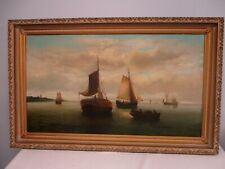 """ANTIQUE SIGNED DUTCH OLD MASTER PAINTING ~ SHIPS IN HARBOR 30"""" HIGH x 50"""" WIDE"""