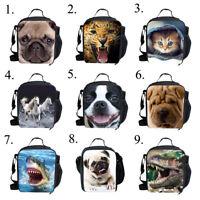 Cute Pug Horse Insulated Lunch Pack Bag Kids Girls Boys School Picnic Food Box