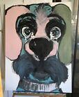 "Signed lori clark Acrylic Painting ""Really Big Blue Dog"" 30"" x 40"" x 2"" Deep"