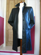 Ladies M&S long line black real leather TRENCH COAT UK 12 10 goth classic duster