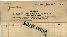1928 BILLHEAD Cisco Texas DEAN DRUG COMPANY Pharmaceutical DRUGGIST Pharmacy
