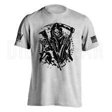 American Grim Reaper Military AR15 Men's T-Shirt with American Flag