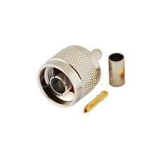 10X RP-N male Plug (female pin) crimp RG58 RG142 RG400 LMR195 cable RF Connector
