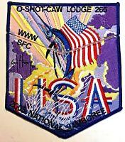 O-SHOT-CAW OA LODGE 265 BSA SOUTH FLORIDA 2005 JAMBOREE FLAG GUY HARVEY 2-PATCH