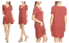 Nelly Womens Dress V-Neck Tunic Stretch Pocket Loose Fit Short Raw Sleeve Small